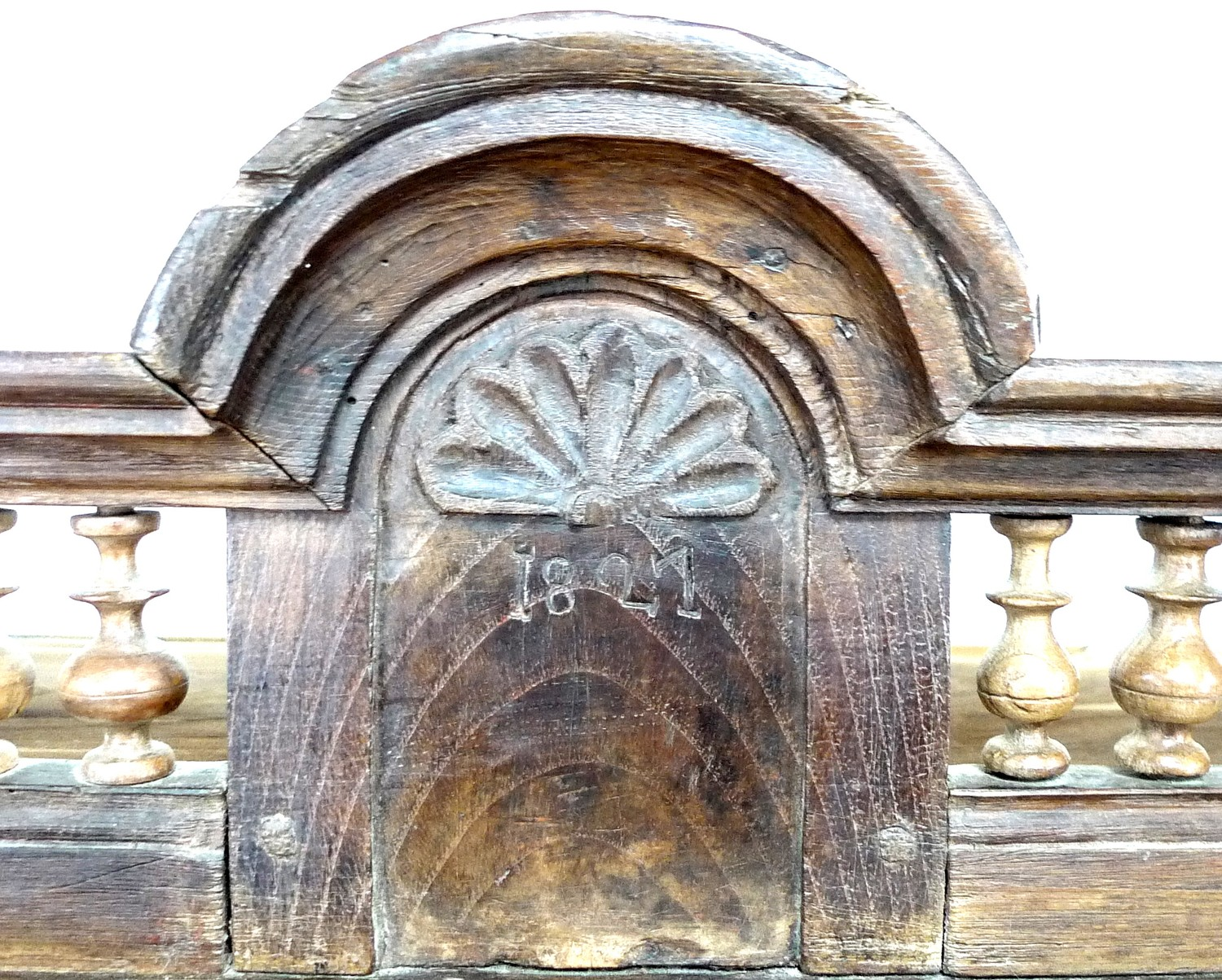 A French oak cupboard, 19th century and later, with carved and baluster detail, bears carved date ' - Image 3 of 6