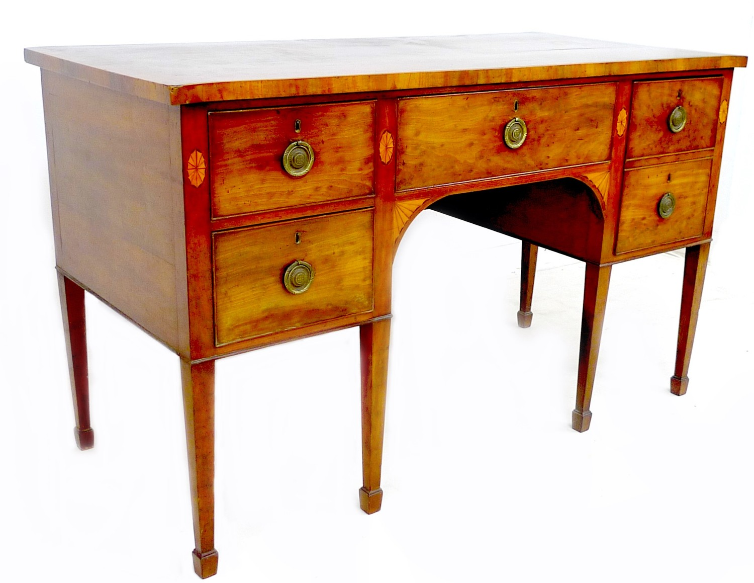 A George III mahogany and fan paterae inlaid sideboard, with five drawers, brass ring handles, - Image 2 of 2