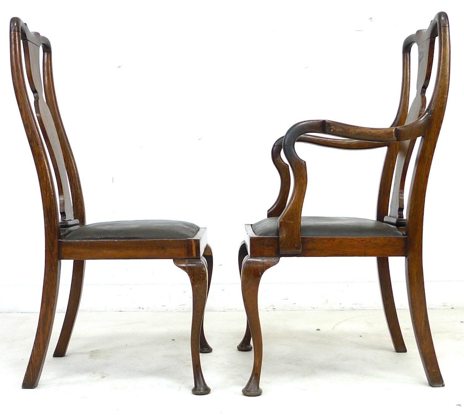 A set of six early 20th century oak dining chairs, 52 by 55 by 106cm high, in Queen Anne style - Image 3 of 4