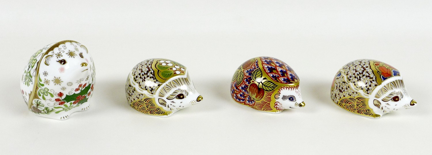 A group of four Royal Crown Derby paperweights, all modelled as hedgehogs, comprising 'Orchard - Image 3 of 10