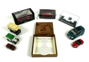 A group of eight die-cast vehicles, comprising a Neo Scale Model f a Honda CRX Del Sol, a Spark