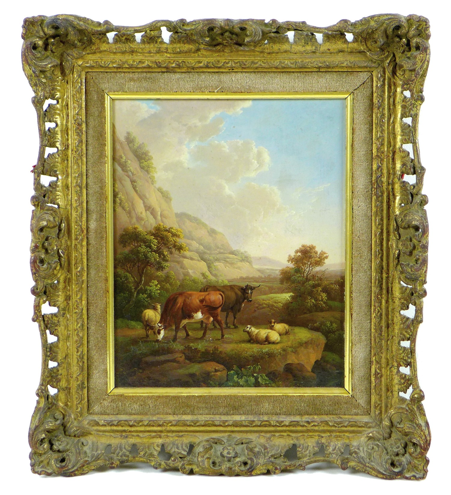 Attributed to Charles Towne (British, 1763-1840): 'Landscape & Cattle', signed 'Town' to a rock in - Image 2 of 11