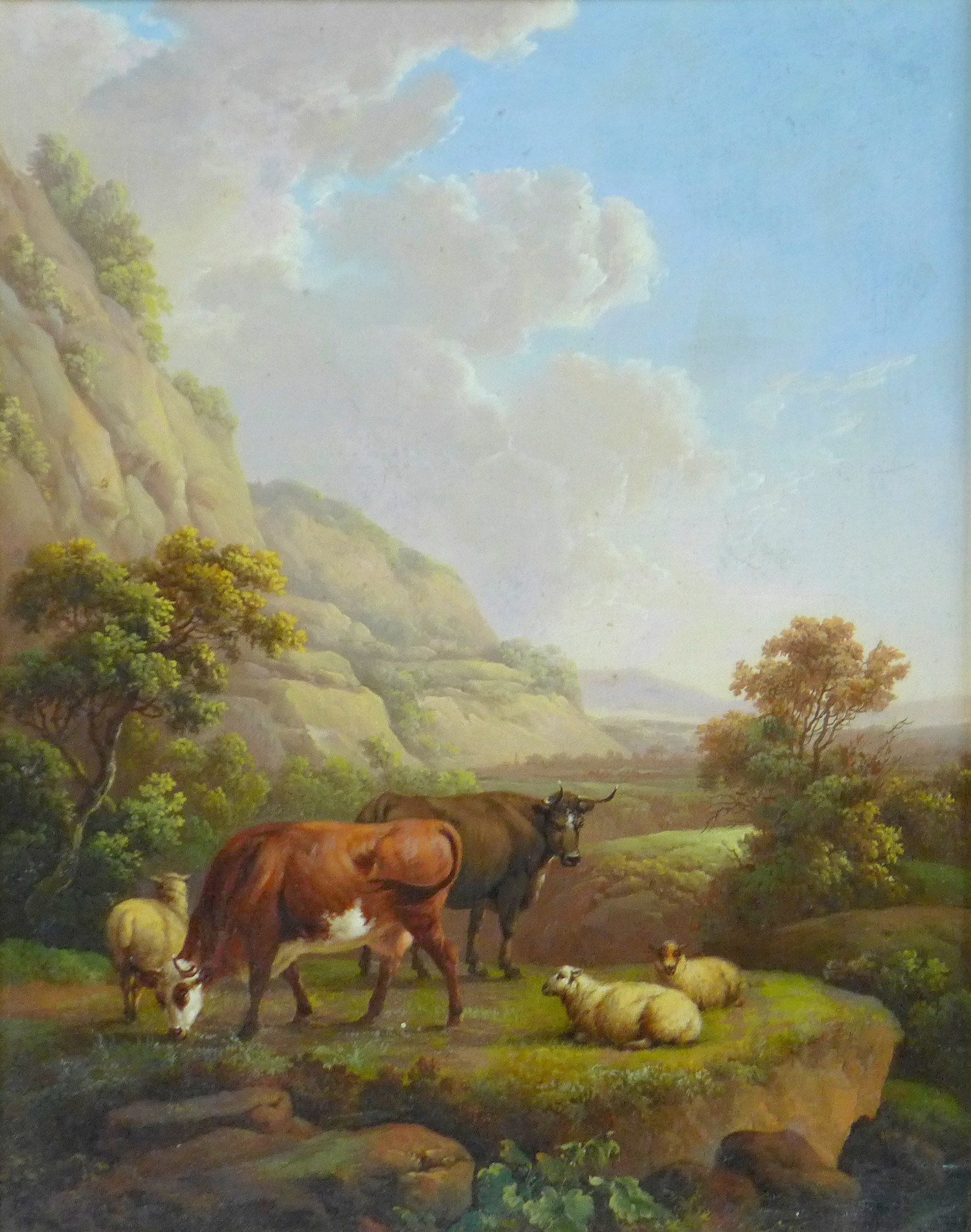 Attributed to Charles Towne (British, 1763-1840): 'Landscape & Cattle', signed 'Town' to a rock in