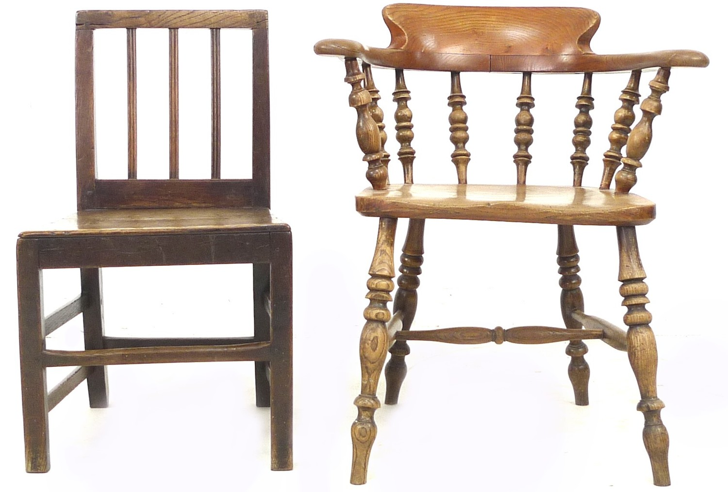 A Scandinavian oak nursery chair, with three rail back, 44 by 48 by 78cm high, together with a - Image 4 of 4