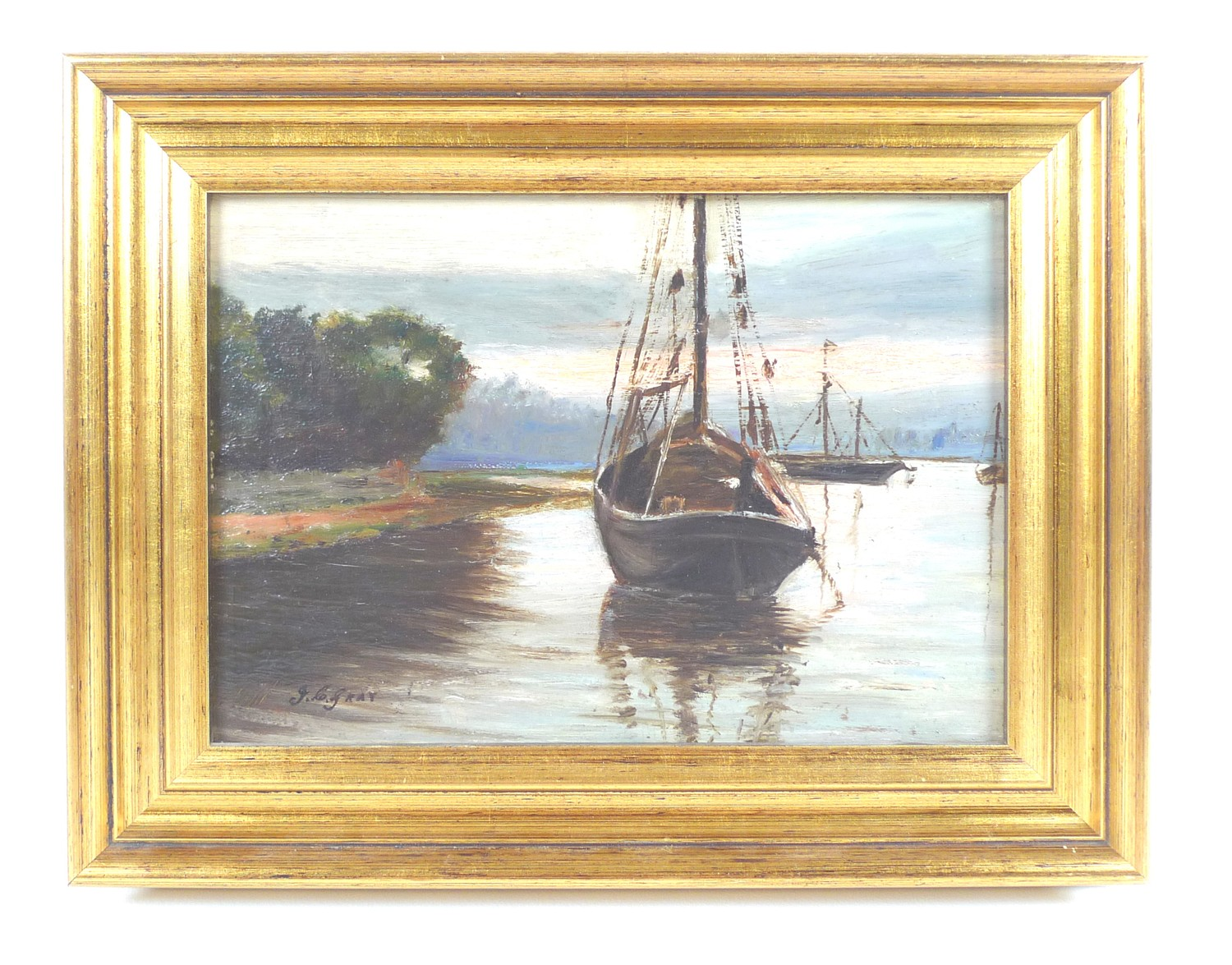 John C. Gray (Scottish, circa 1880-1945): boats on a river, signed lower left, oil on board, 16.5 by - Image 2 of 5