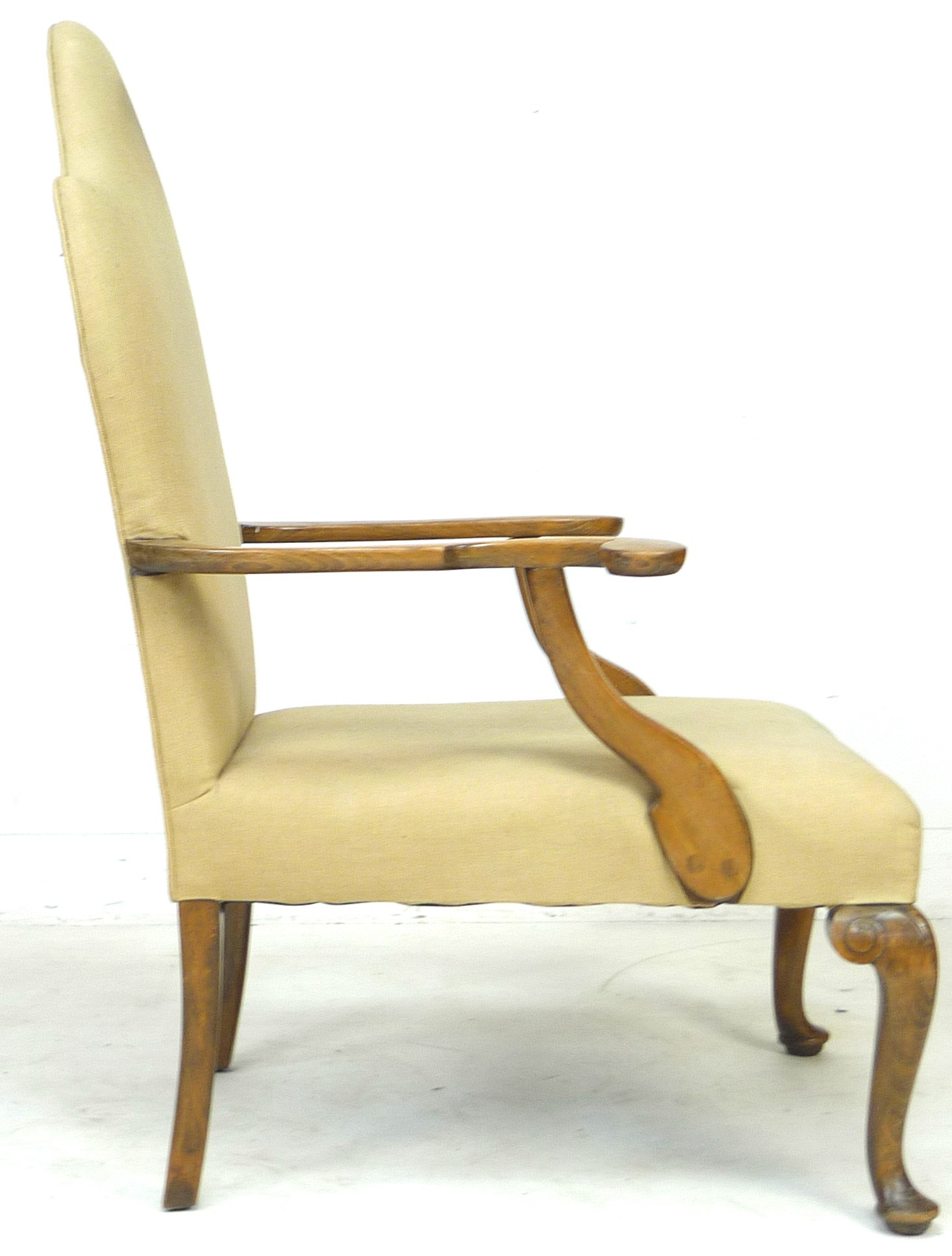 An Edwardian mahogany open armchair, in Queen Anne style, upholstered in cream foliate fabric, 72 by - Image 3 of 4