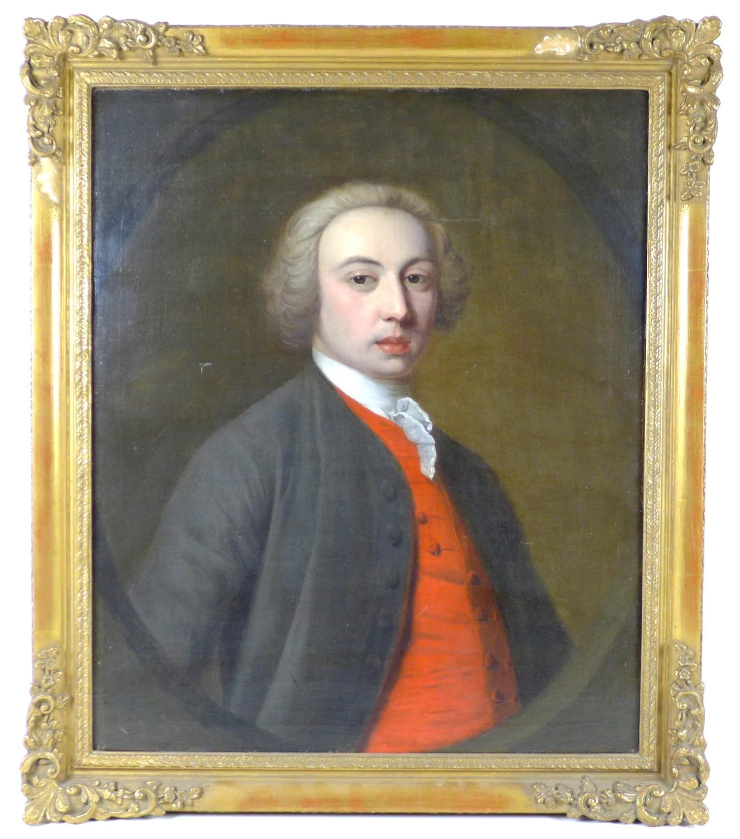 British School (early 19th century): half-length portrait of a Georgian gentleman, wearing a white - Image 2 of 15