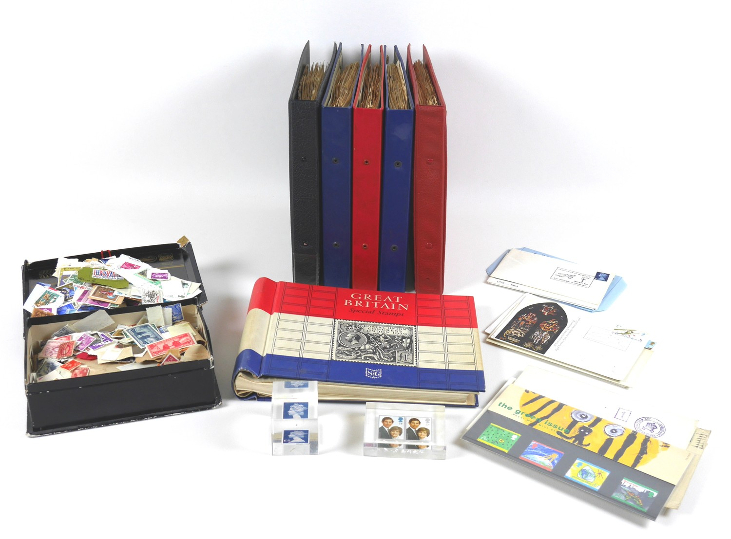 A collection of 20th century World stamps contained within six albums, mostly franked, together with