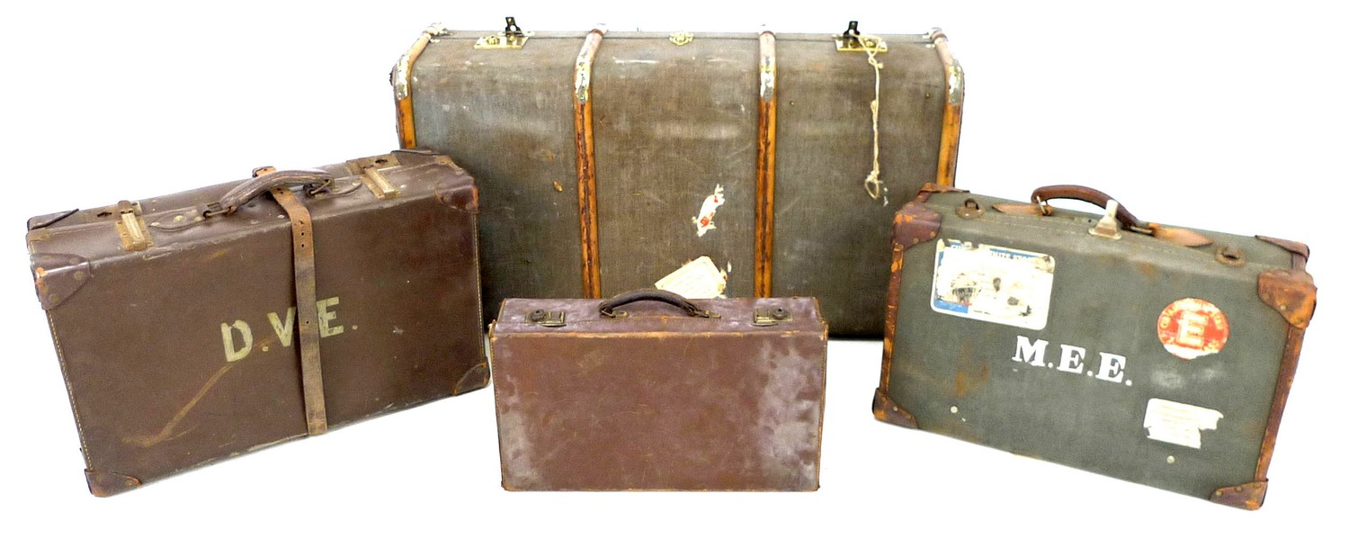 A group of four vintage suitcases, the largest wooden bound and canvas covered, 51 by 91 by 31 cm