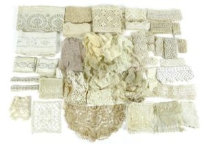 A collection of lace, tatting and embroidery, including a Honiton lace collar, a further bobbin lace
