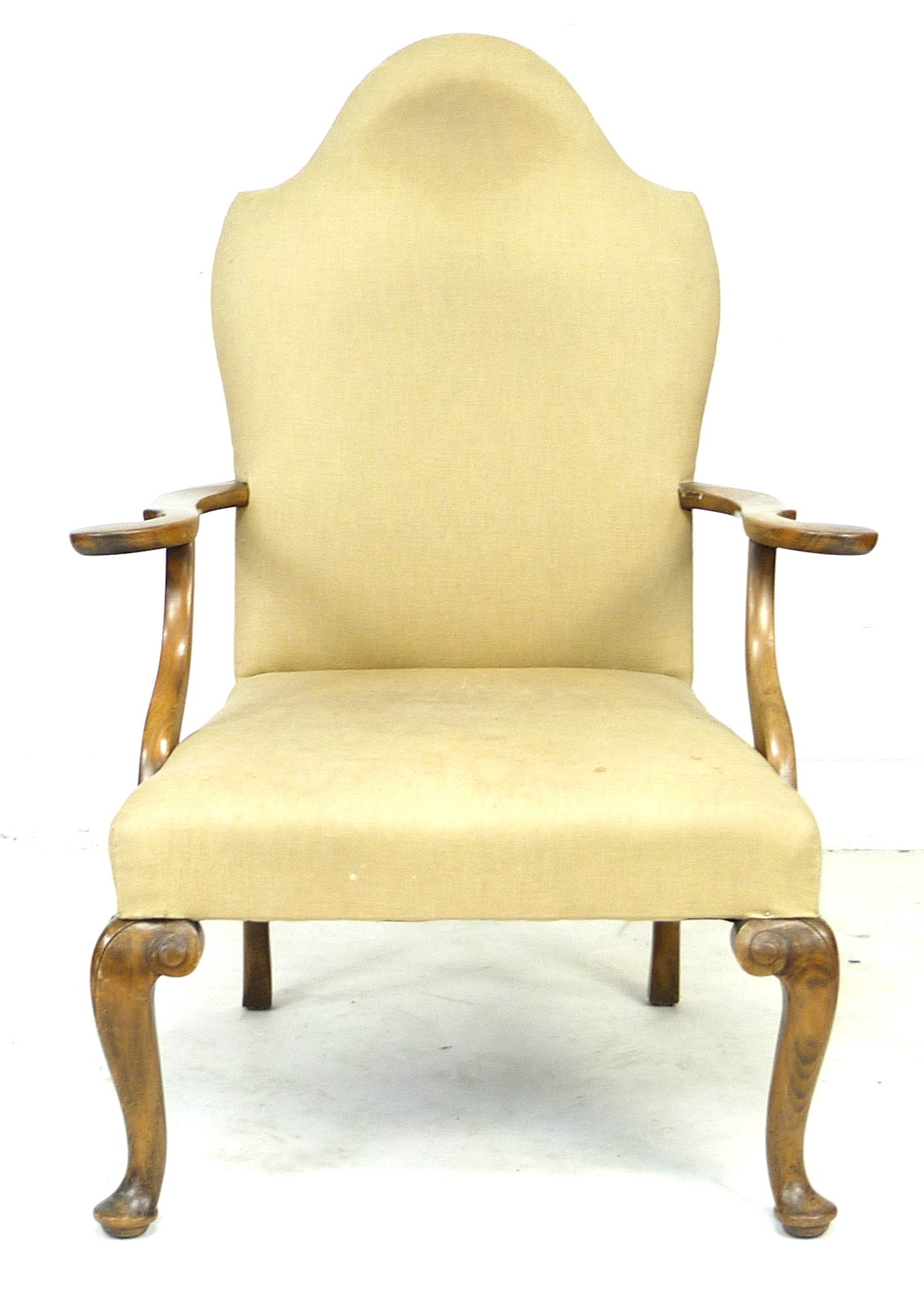 An Edwardian mahogany open armchair, in Queen Anne style, upholstered in cream foliate fabric, 72 by - Image 2 of 4