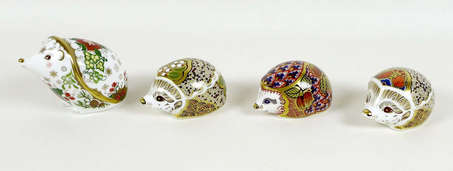 A group of four Royal Crown Derby paperweights, all modelled as hedgehogs, comprising 'Orchard - Image 2 of 10