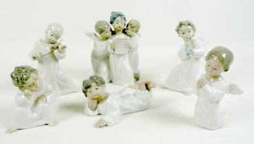 A group of six Lladro Angel figurines, comprising number 4542, Angels, 18.5cm high, number 4538,