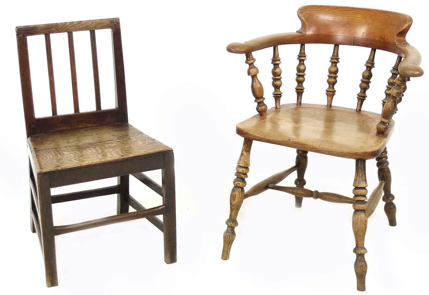 A Scandinavian oak nursery chair, with three rail back, 44 by 48 by 78cm high, together with a