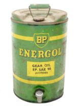 A vintage 'BP Energol Gear Oil' metal can, 'EP. SAE 90 (Hypoid)', with single handle to its top