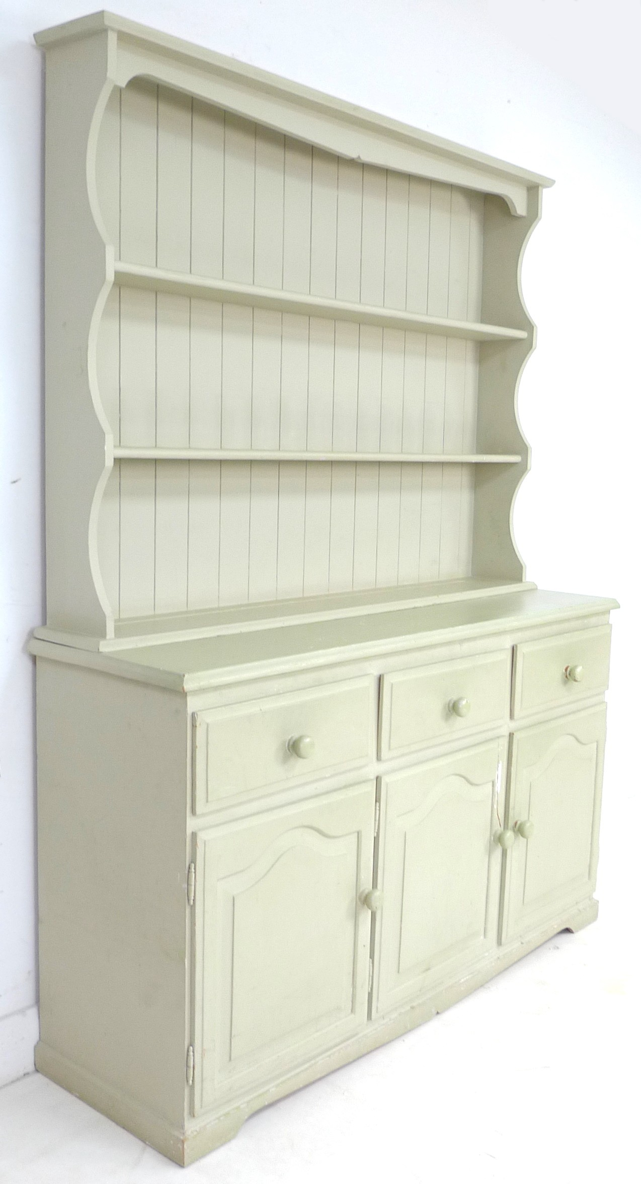 A modern pine pale green painted dresser, with plate rack over three drawers and three cupboards - Image 2 of 4