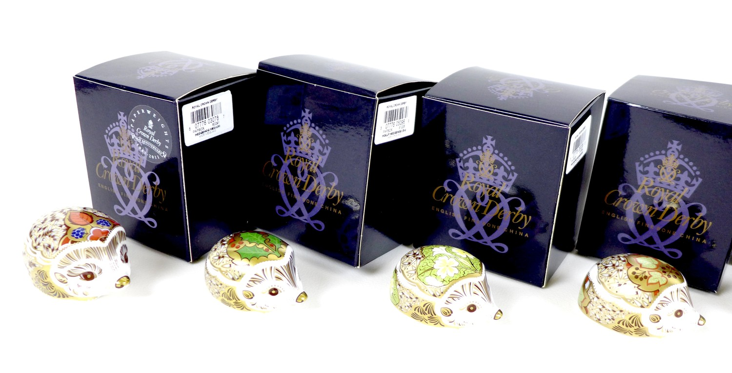 A group of eight small Royal Crown Derby paperweights, all modelled as hedgehogs, comprising ' - Image 15 of 16