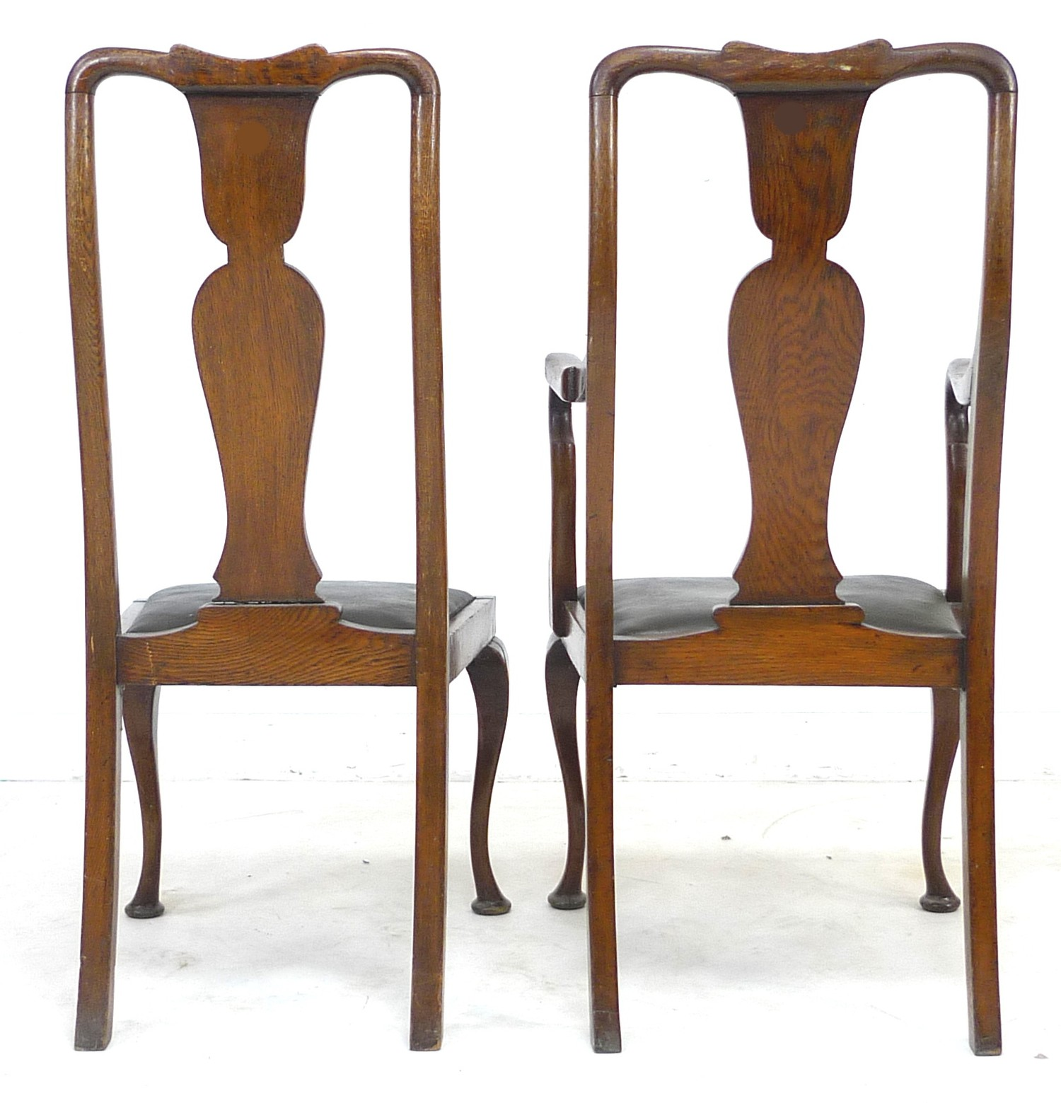 A set of six early 20th century oak dining chairs, 52 by 55 by 106cm high, in Queen Anne style - Image 4 of 4