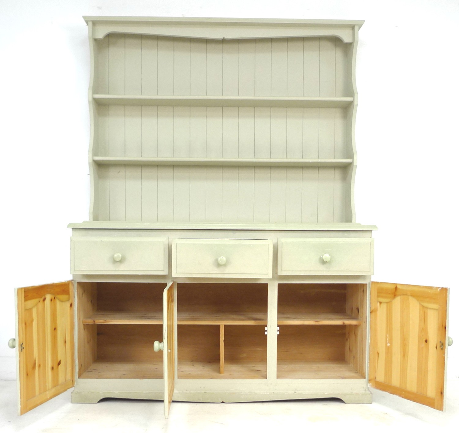 A modern pine pale green painted dresser, with plate rack over three drawers and three cupboards - Image 4 of 4