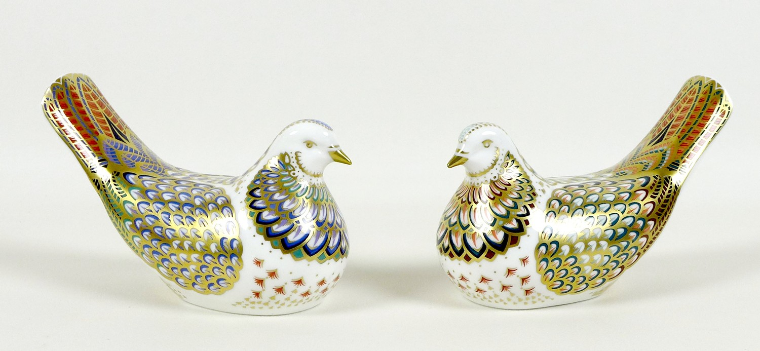 Two Royal Crown Derby paperweights, comprising 'Millenium Dove', limited edition 1130/1500, an