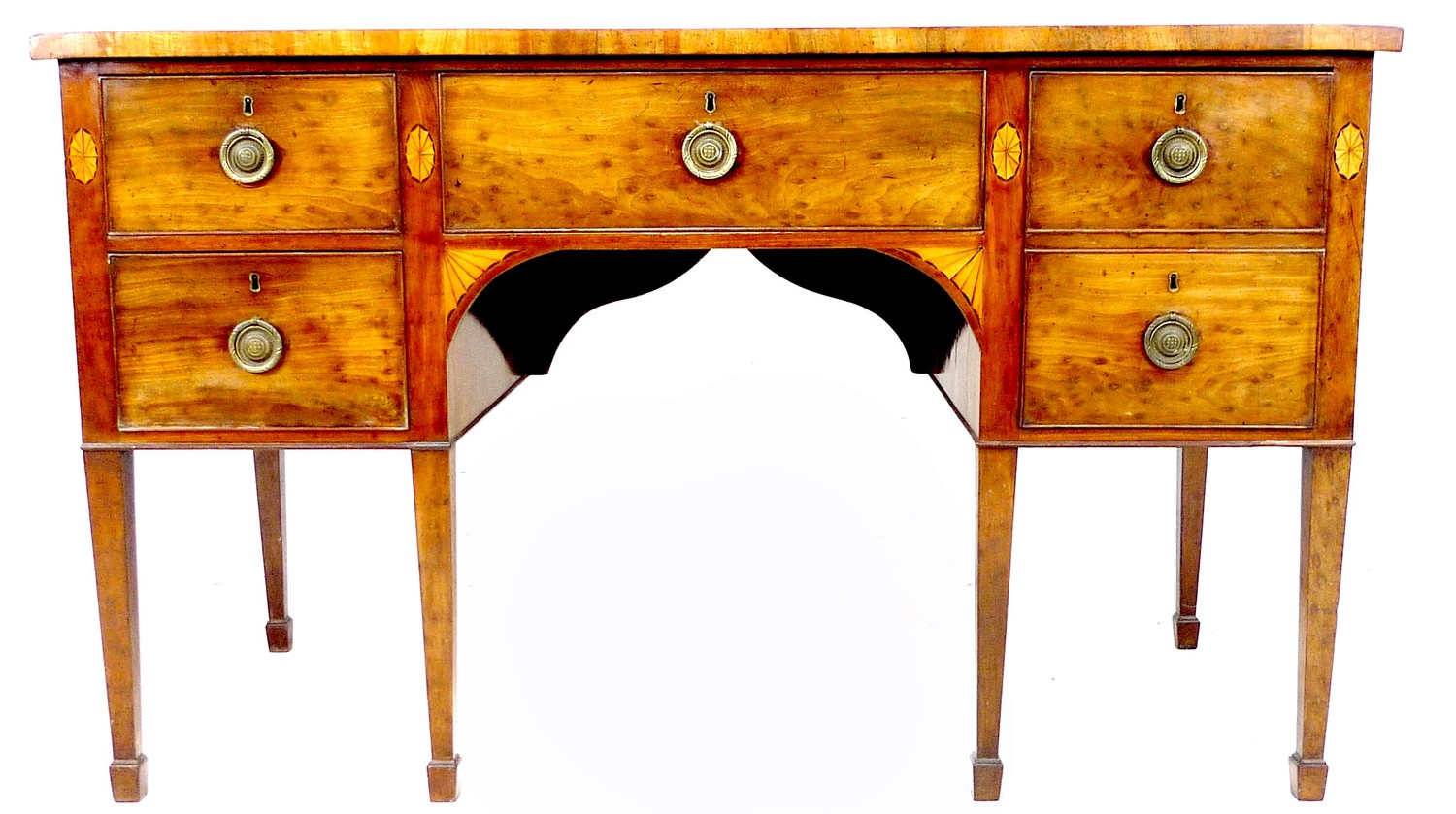 A George III mahogany and fan paterae inlaid sideboard, with five drawers, brass ring handles,