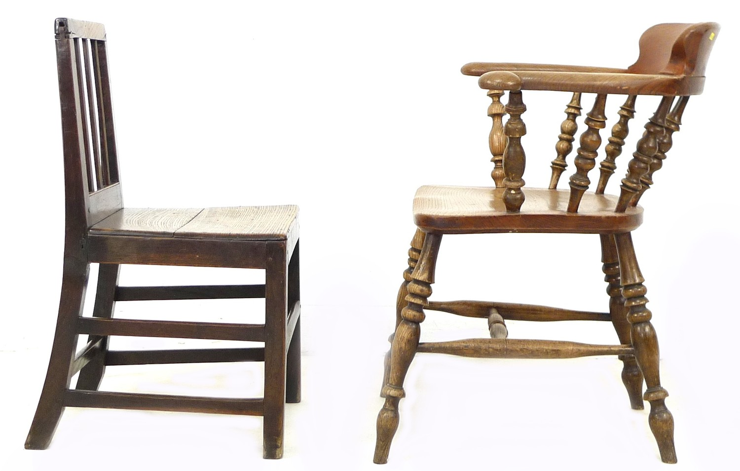 A Scandinavian oak nursery chair, with three rail back, 44 by 48 by 78cm high, together with a - Image 2 of 4