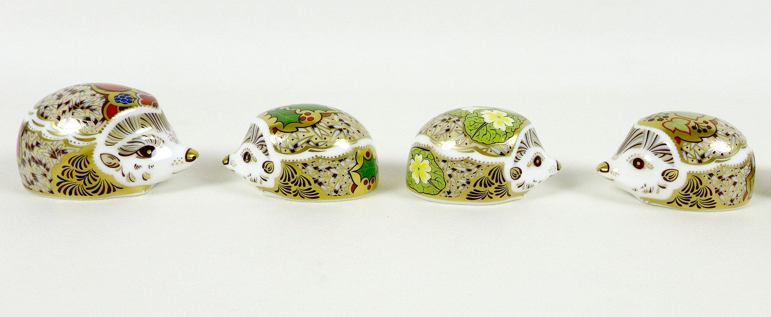 A group of eight small Royal Crown Derby paperweights, all modelled as hedgehogs, comprising ' - Image 2 of 16