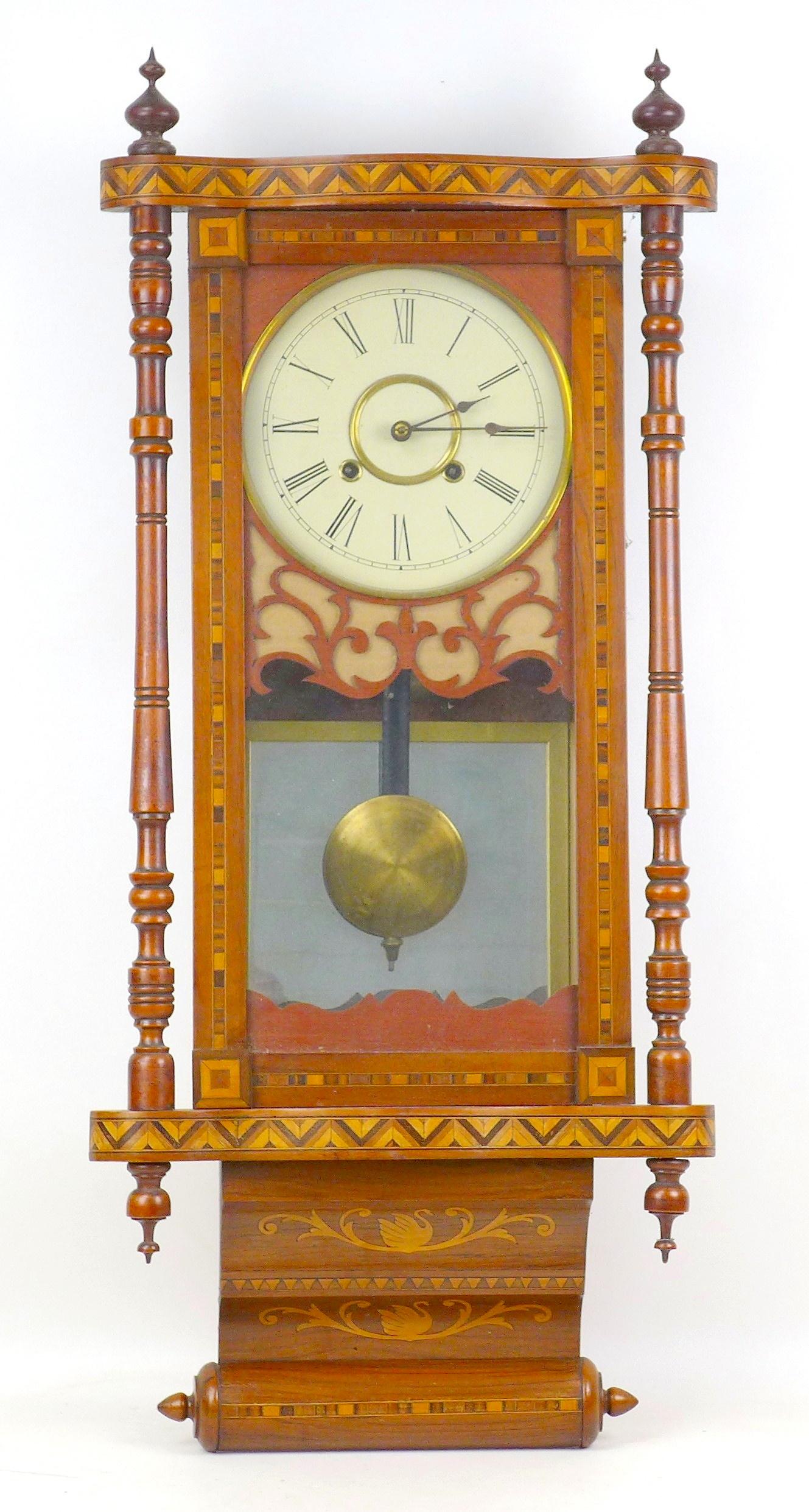 An early 20th century Vienna regulator wall clock with Tunbridge ware inlaid mahogany case, a