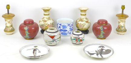 A collection of ceramics and cloisonne, including a pair of Chinese crackle glazed vases, with