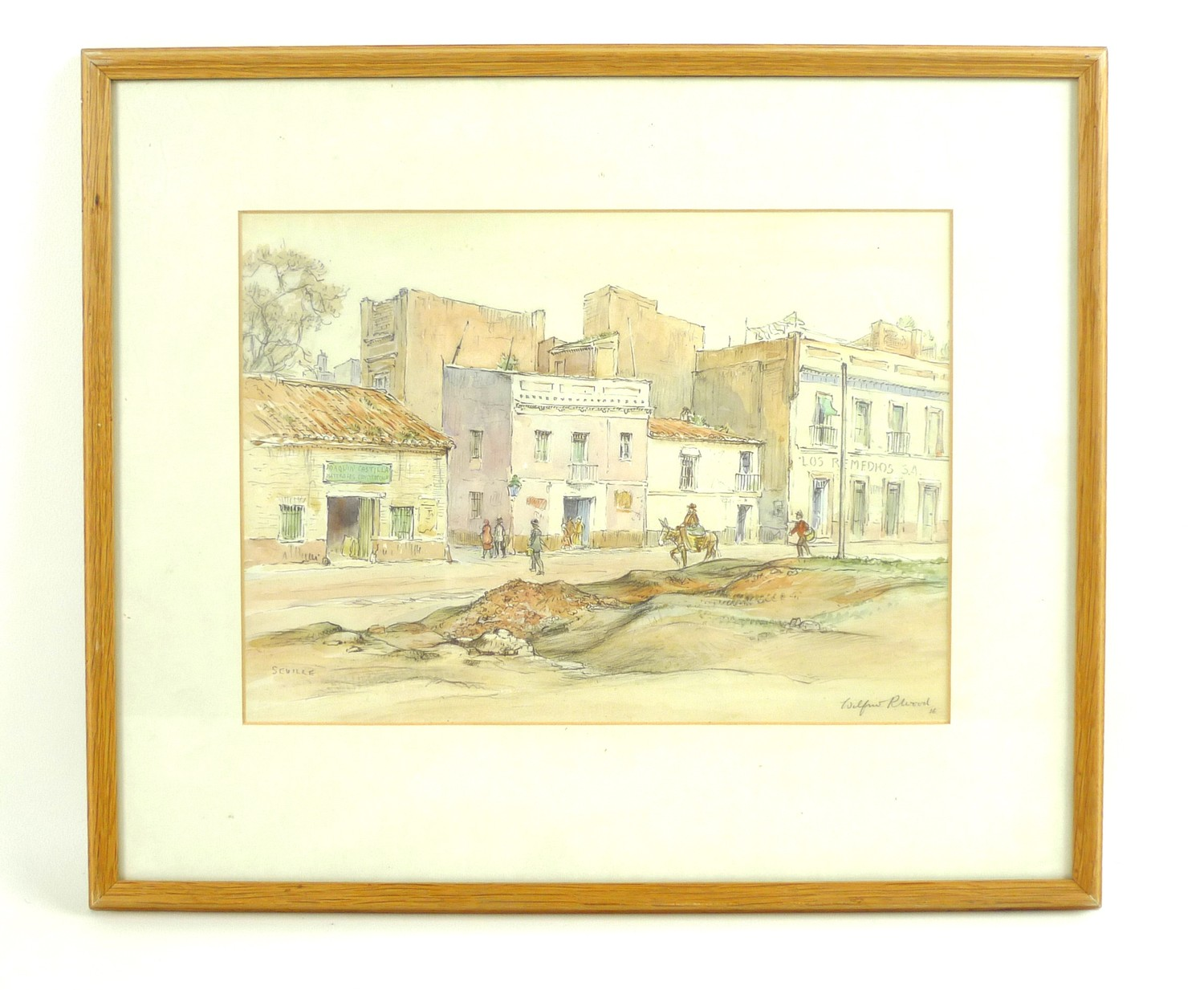 Wilfrid Rene Wood (British, 1888-1976): 'Seville', depicting a street scene, pencil and watercolour, - Image 2 of 4
