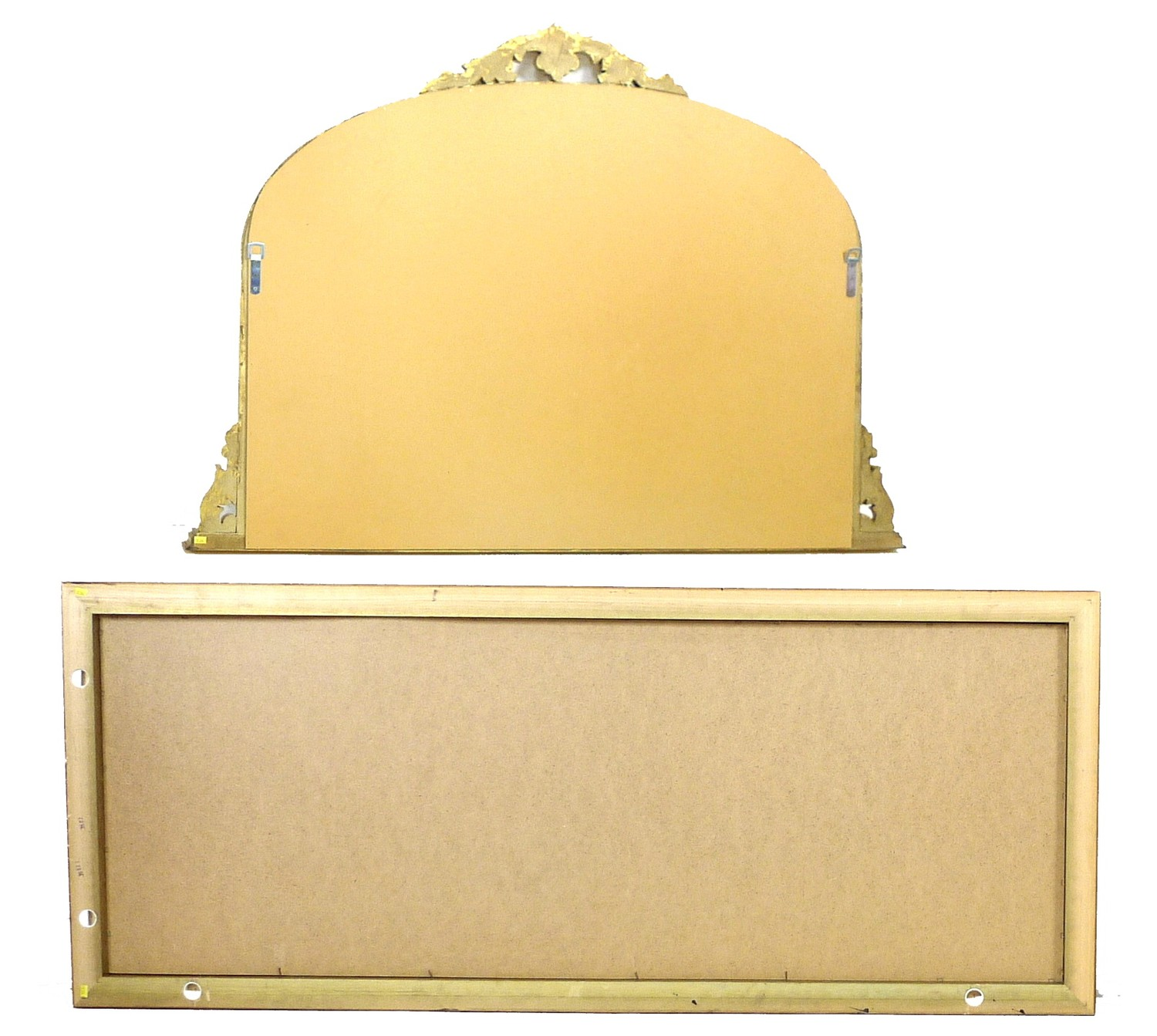 A modern Victorian style overmantle mirror, with gold coloured frame and bevelled arched plate, - Image 2 of 2