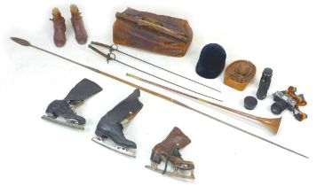 A collection of vintage leisure related items, including a fishing spear, a pair of Fortnum &