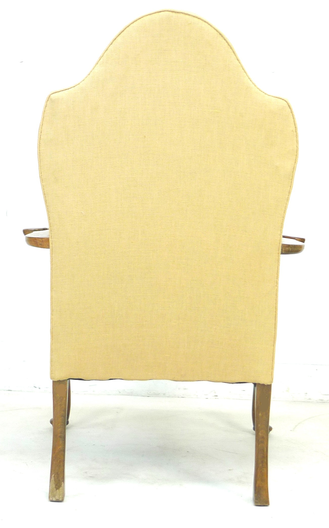 An Edwardian mahogany open armchair, in Queen Anne style, upholstered in cream foliate fabric, 72 by - Image 4 of 4