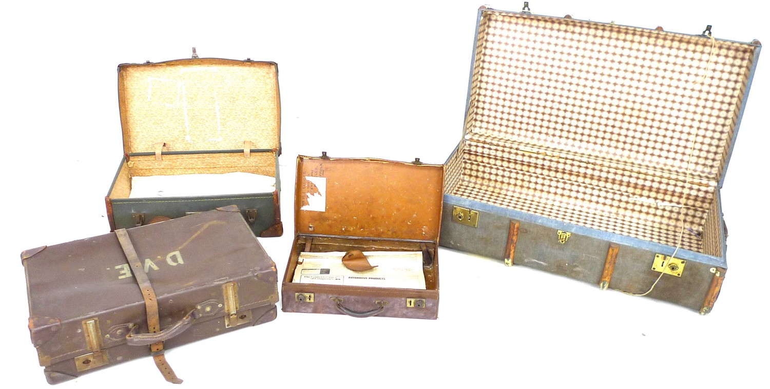 A group of four vintage suitcases, the largest wooden bound and canvas covered, 51 by 91 by 31 cm - Image 2 of 2
