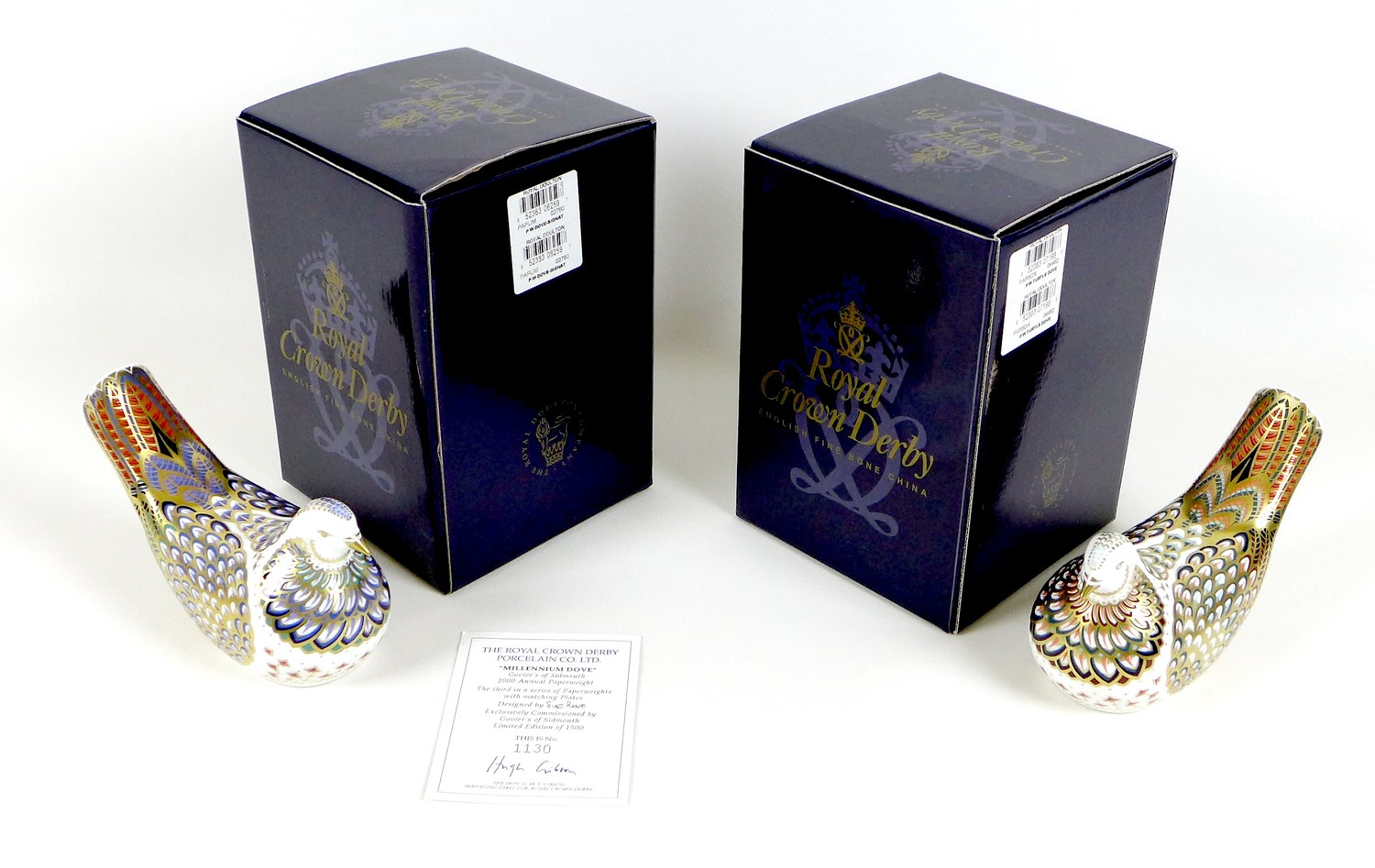 Two Royal Crown Derby paperweights, comprising 'Millenium Dove', limited edition 1130/1500, an - Image 8 of 8