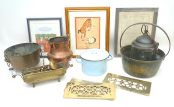 A mixed group of collectables, comprising four brass grille covers with raised manufacturer's