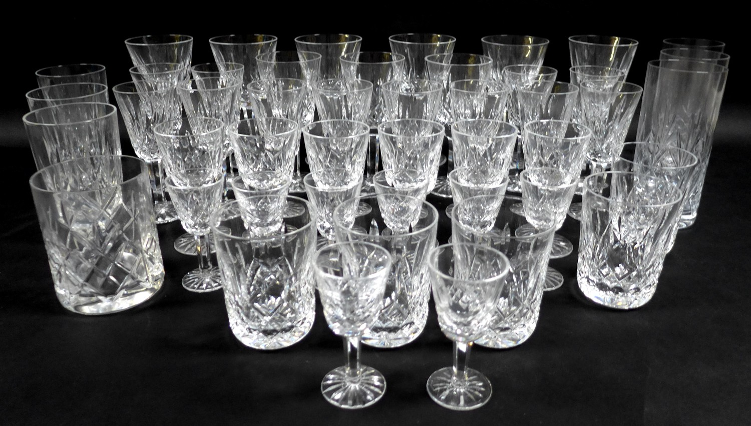 A collection of Waterford Crystal glasses in the Lismore pattern, comprising six red wine, 15cm