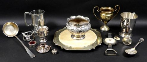 A collection of Victorian and later silver plated items including a square plated salver with