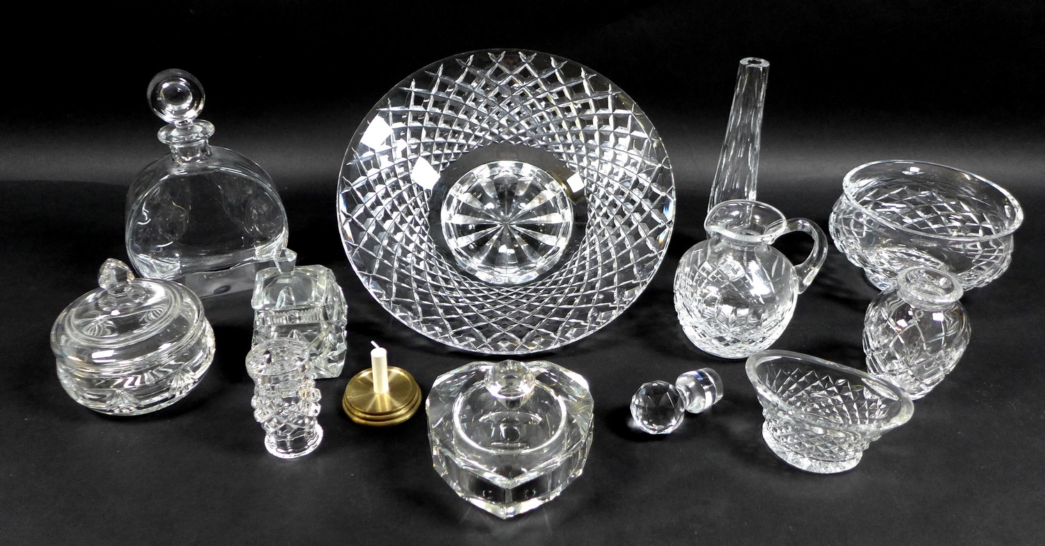 A collection of Waterford Crystal glass wares, including a shallow bowl, 26.5 by 7cm, pedestal bowl,