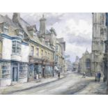 Wilfrid Rene Wood (British, 1888-1976): a view of Stamford, depicting ?St Mary?s Street? (No 6),