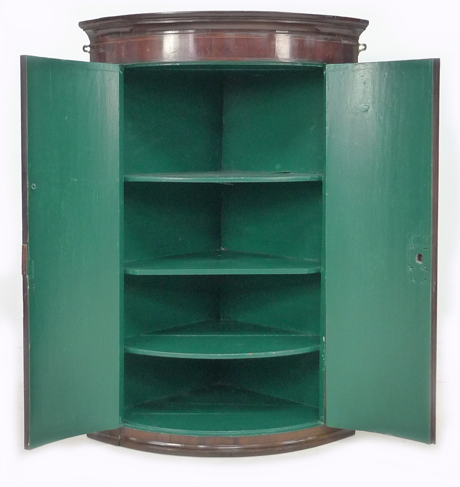A George III mahogany bow fronted corner cupboard, with green painted interior, 72 by 50 by 106cm - Image 2 of 4