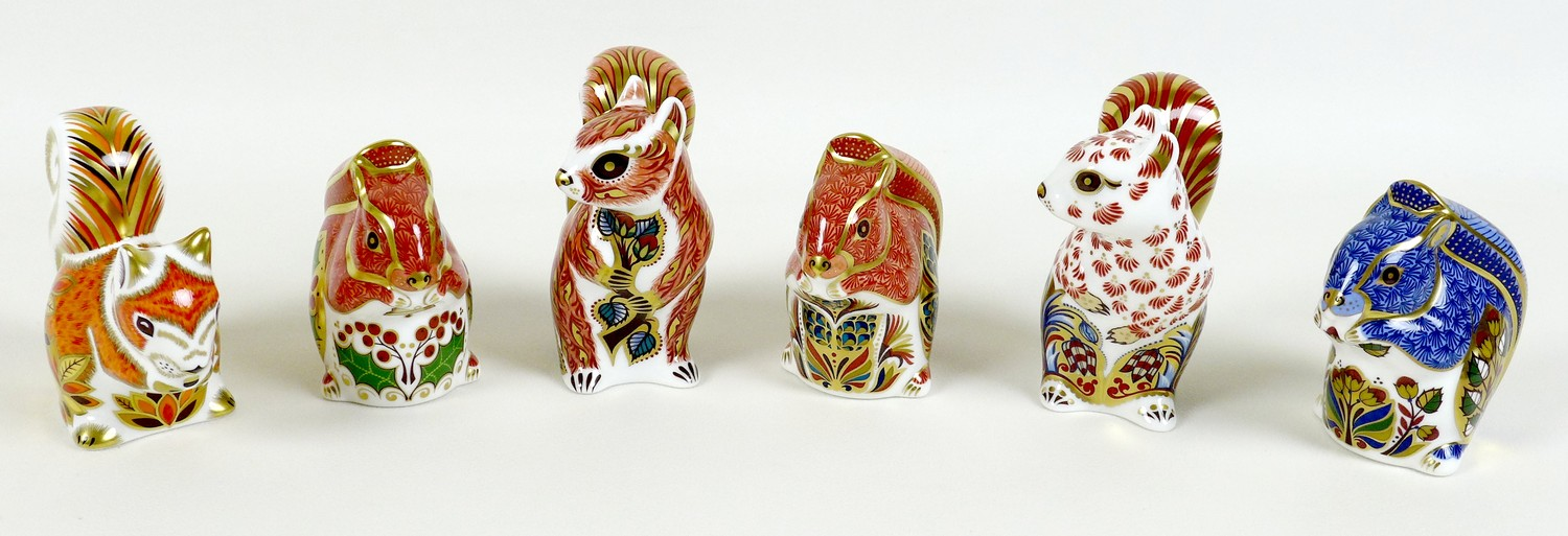 A group of six Royal Crown Derby paperweights, all modelled as squirrels, comprising 'Welbeck