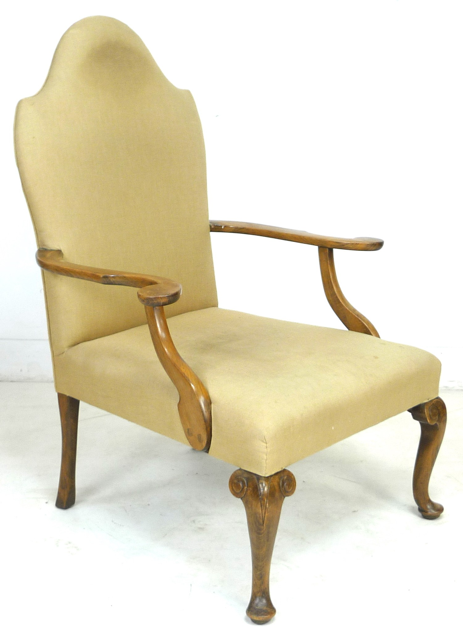 An Edwardian mahogany open armchair, in Queen Anne style, upholstered in cream foliate fabric, 72 by