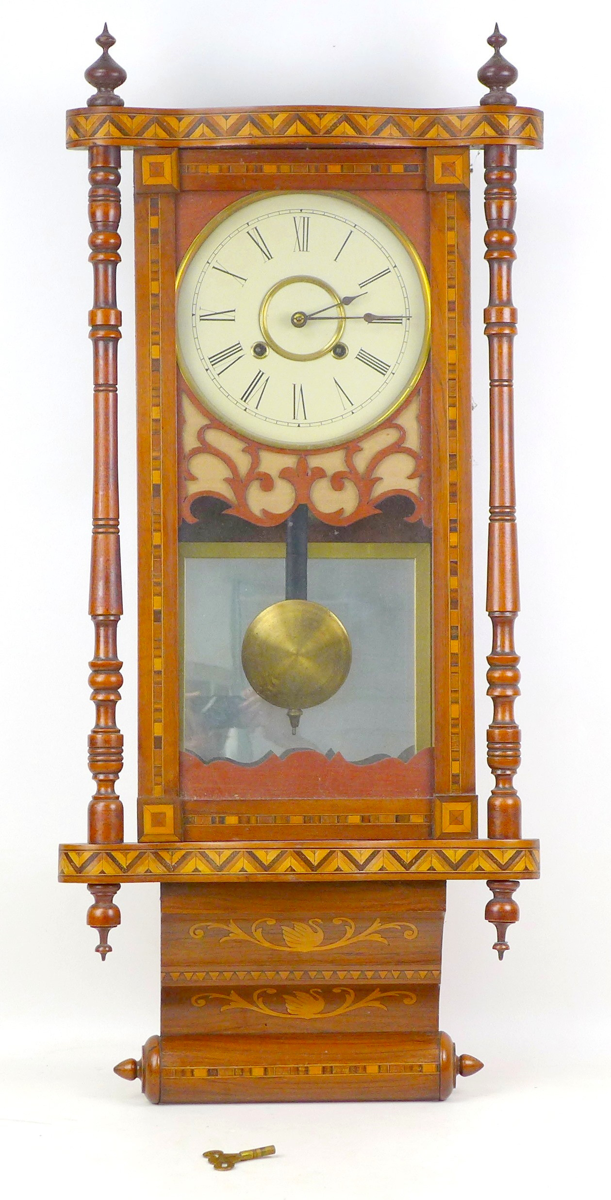An early 20th century Vienna regulator wall clock with Tunbridge ware inlaid mahogany case, a - Image 2 of 5