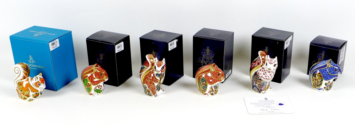 A group of six Royal Crown Derby paperweights, all modelled as squirrels, comprising 'Welbeck - Image 9 of 11