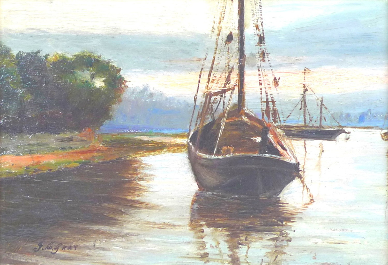 John C. Gray (Scottish, circa 1880-1945): boats on a river, signed lower left, oil on board, 16.5 by