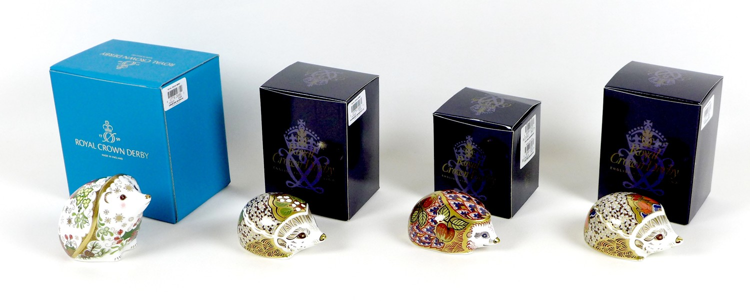 A group of four Royal Crown Derby paperweights, all modelled as hedgehogs, comprising 'Orchard - Image 10 of 10