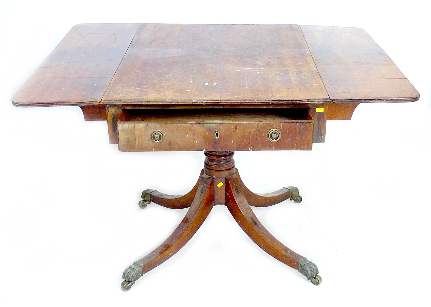 A Regency mahogany sofa table, with single frieze drawer, raised on four outswept legs with brass - Image 2 of 5