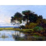 C. Winter (British, 19th century): a country landscape with two figures by a pond and trees,