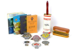 A group of six British vintage motoring badges, including two AA badges, as well as badges for